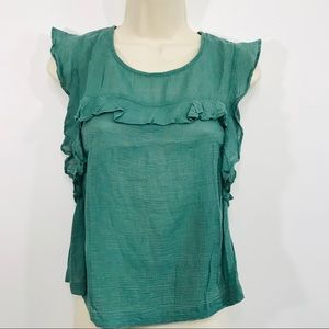 PiperLime Collection Green Cap Sleeve Ruffle Top